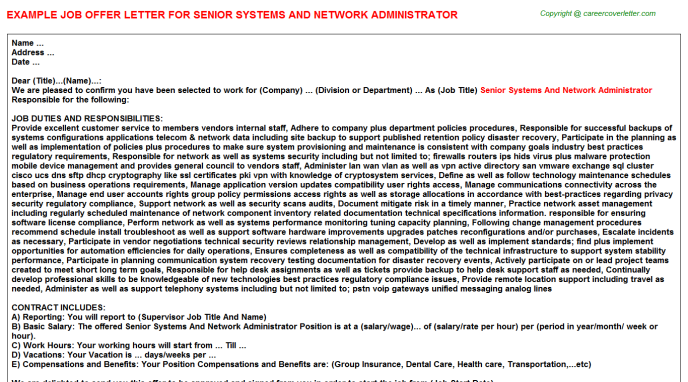 senior systems and network administrator offer letter template