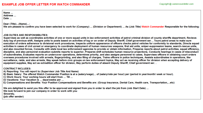 watch commander offer letter