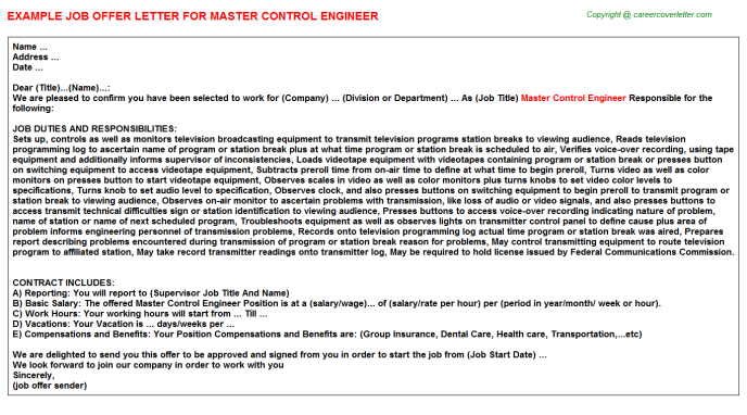 master control engineer offer letter template
