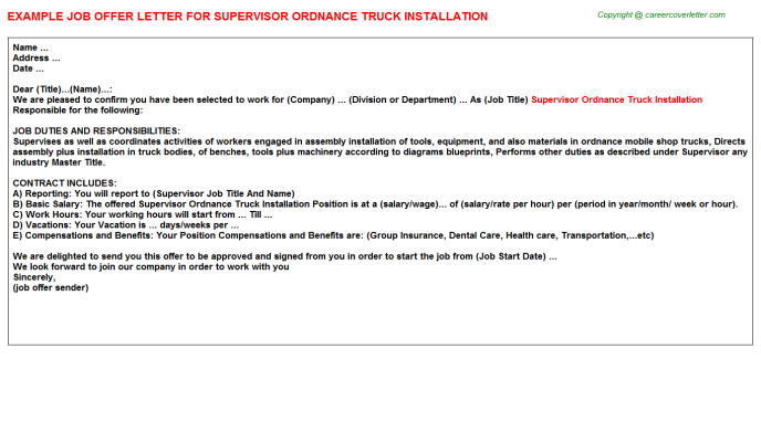 Supervisor Ordnance Truck Installation Job Offer Letter Template