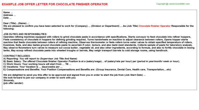 chocolate finisher operator offer letter template