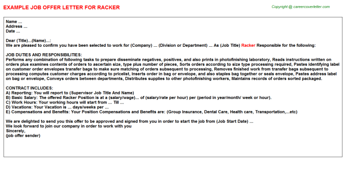 Racker Offer Letter Template