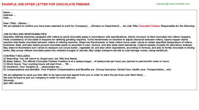 chocolate finisher offer letter template