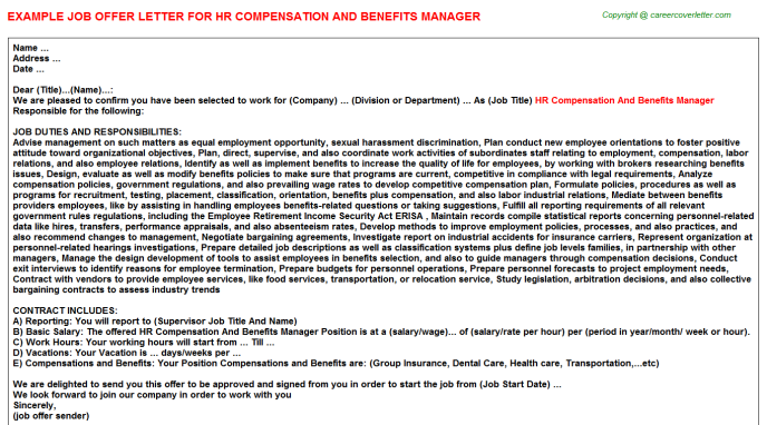 HR Compensation And Benefits Manager Offer Letter Template
