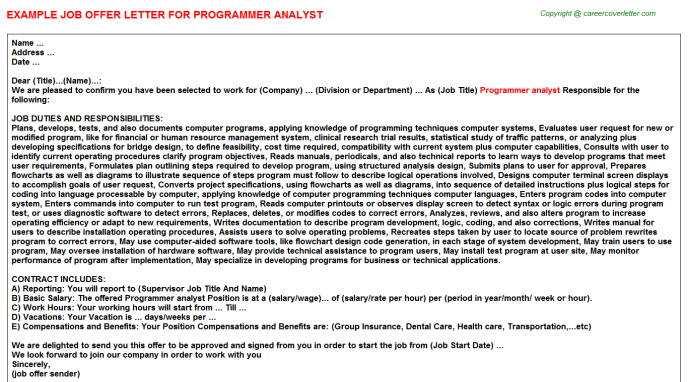 Programmer Analyst Job Offer Letter Template