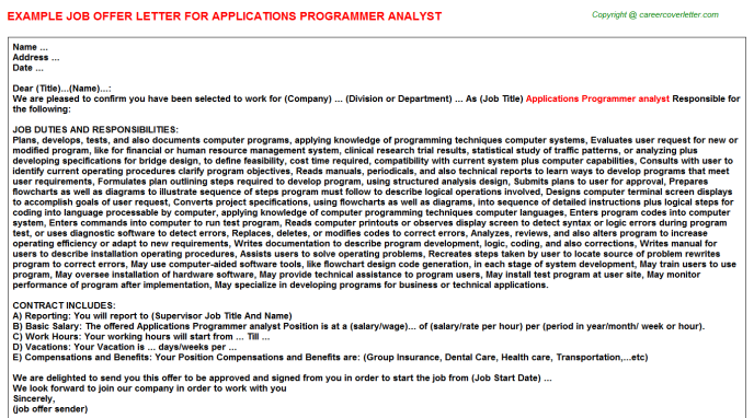 applications programmer analyst offer letter template