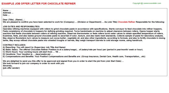 chocolate refiner offer letter template