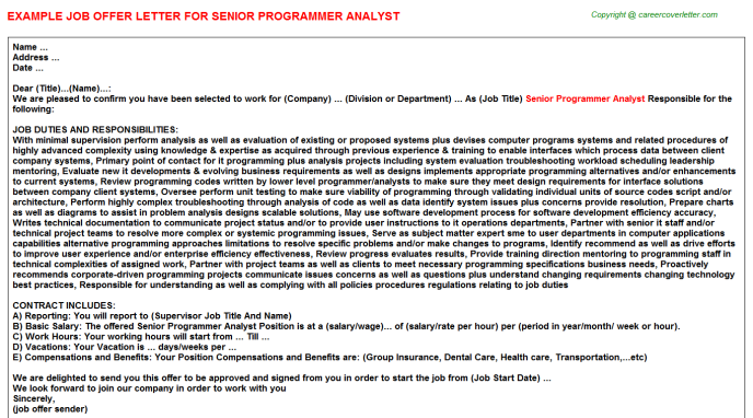 senior programmer analyst offer letter template