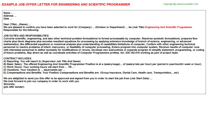 Engineering And Scientific Programmer Offer Letter Template