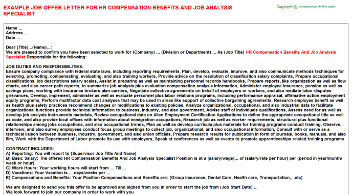 Hr compensation benefits and job analysis specialist job offer letter (#23633)