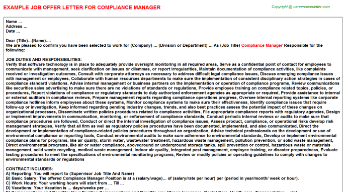 Compliance Manager Offer Letter Template