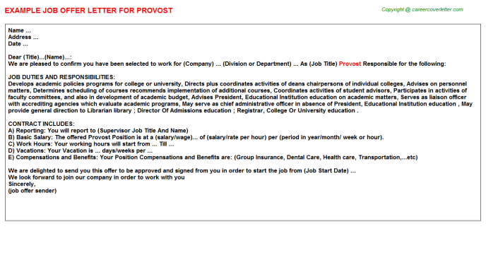 Provost Job Offer Letter Template
