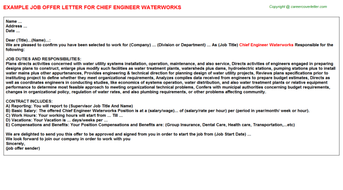 Chief Engineer Waterworks Offer Letter Template