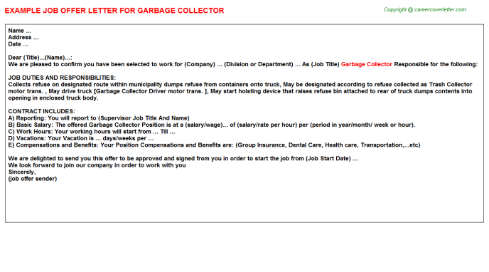 Garbage Collector Offer Letter Template