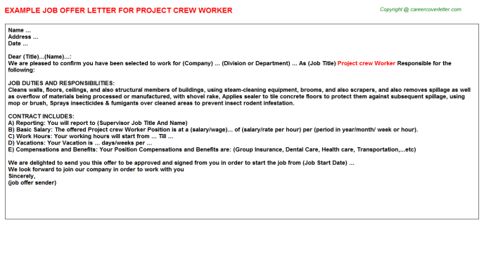 Project Crew Worker Offer Letter Template