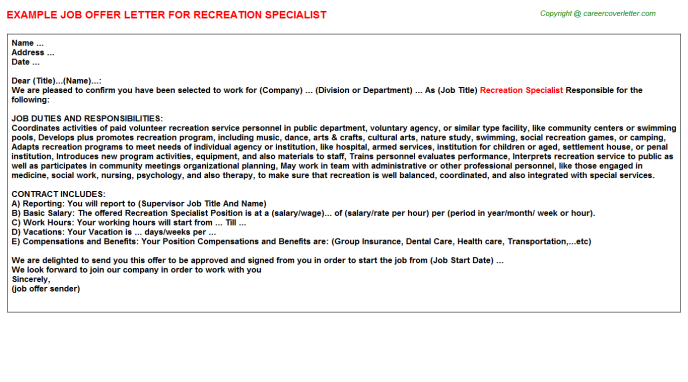 Recreation specialist job offer letter (#2637)