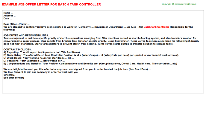 Batch tank Controller Job Offer Letter Template