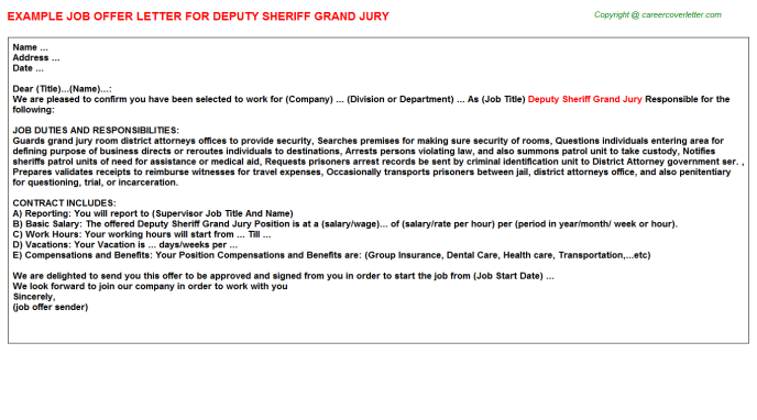 Deputy Sheriff Grand Jury Offer Letter Template