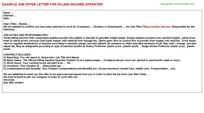 Pilling Machine Operator Offer Letter Template