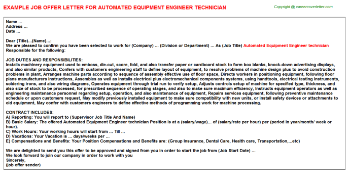 Automated Equipment Engineer technician Offer Letter Template
