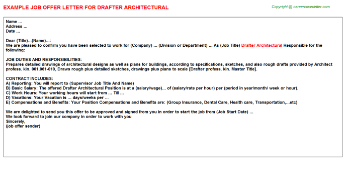 drafter architectural offer letter template