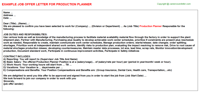 Production Planner Offer Letter Template
