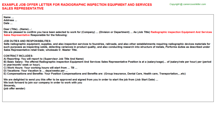 Radiographic Inspection Equipment And Services Sales Representative Offer Letter Template