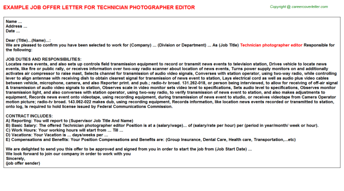 Technician Photographer Editor Offer Letter Template