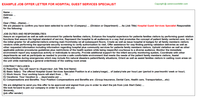 Hospital guest services specialist job offer letter (#25641)