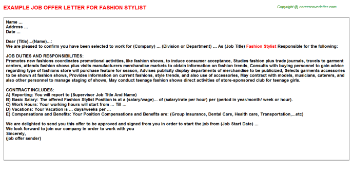 Fashion Stylist Offer Letters Related Results