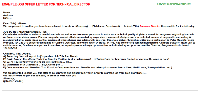Technical Director Offer Letter Template