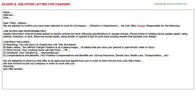 Charger Offer Letter Template