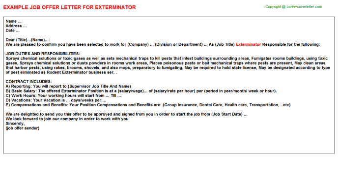 Exterminator Job Offer Letter Template