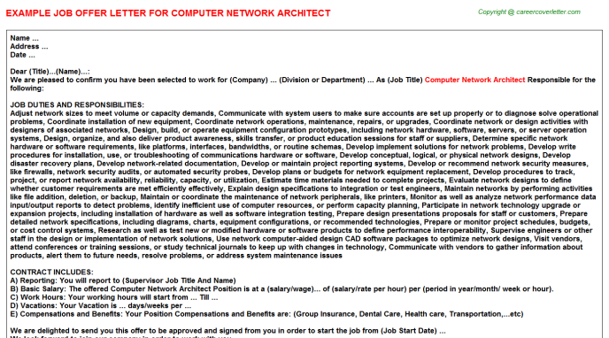 computer network architect offer letter template