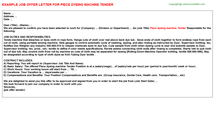 Piece Dyeing Machine Tender Job Offer Letter Template
