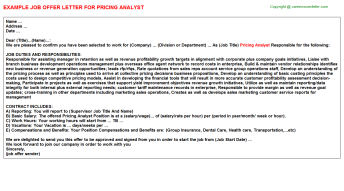 Pricing Analyst Offer Letter Template