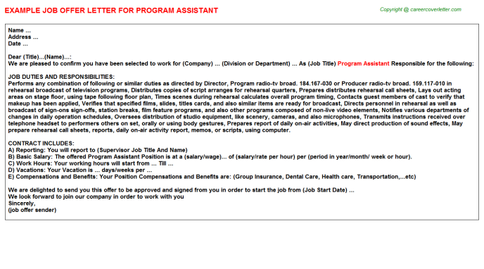 Program Assistant Offer Letter Template