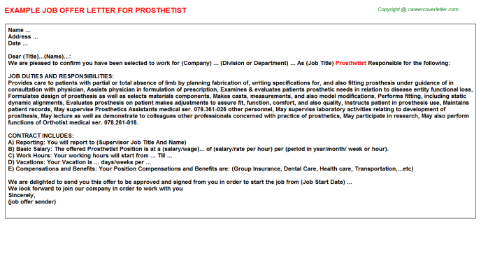 Prosthetist Job Offer Letter Template