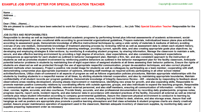Special Education Teacher Offer Letter Template