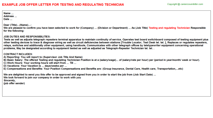 Testing And Regulating Technician Job Offer Letter Template