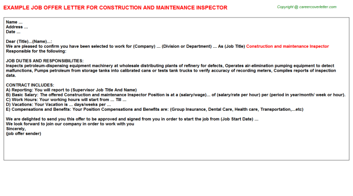 construction and maintenance inspector offer letter