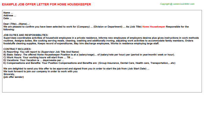 Home Housekeeper Job Offer Letter Example