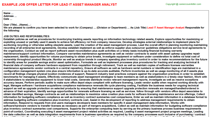 Lead it asset manager analyst job offer letter (#25653)