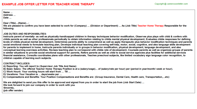 Teacher Home Therapy Offer Letter Template