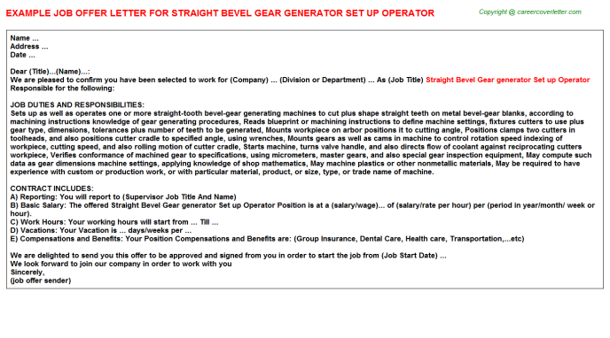 Straight Bevel Gear generator Set up Operator Offer Letter Template