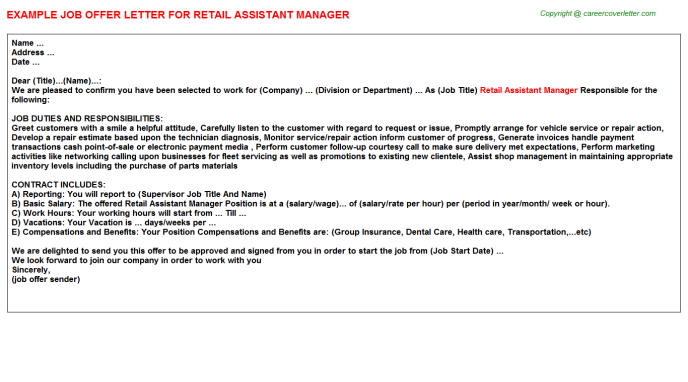 Retail Assistant Manager Offer Letter Template