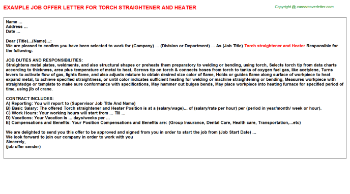 Torch Straightener And Heater Offer Letter Template
