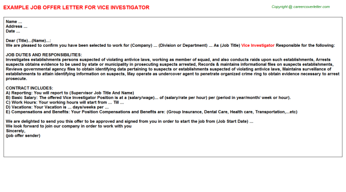 Vice Investigator Offer Letter Template
