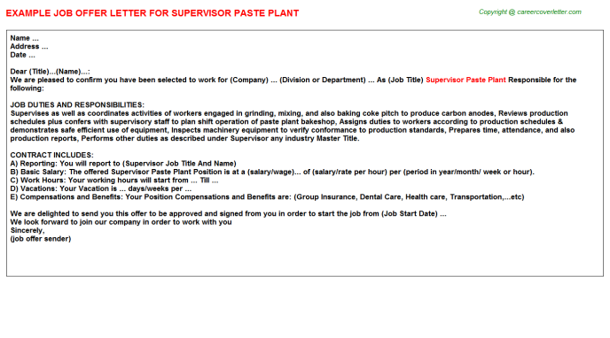 Supervisor Paste Plant Offer Letter Template