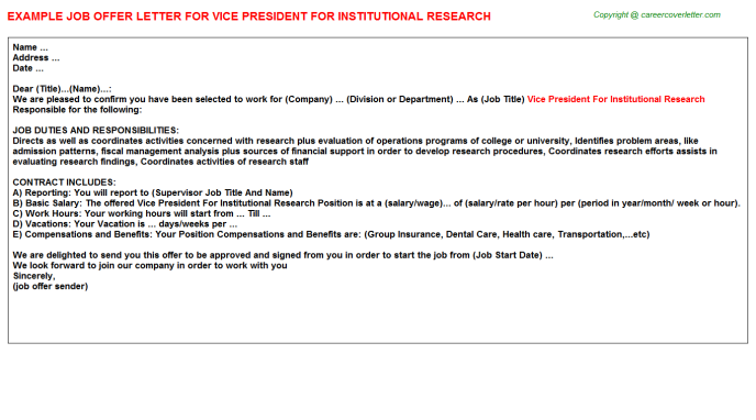 vice president for institutional research offer letter template